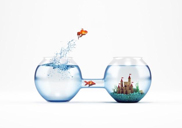 Pesce rosso che salta in un acquario con un castello invece un altro pesce passa dal tubo. modo per il miglioramento e il concetto di progresso. rendering 3d