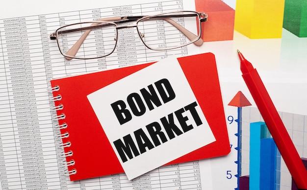 Occhiali bordati d'oro, una penna rossa, tabelle dei colori e un taccuino rosso con una scheda bianca con il testo bond market sul desktop