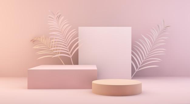 Scena geometrica con foglie di palma