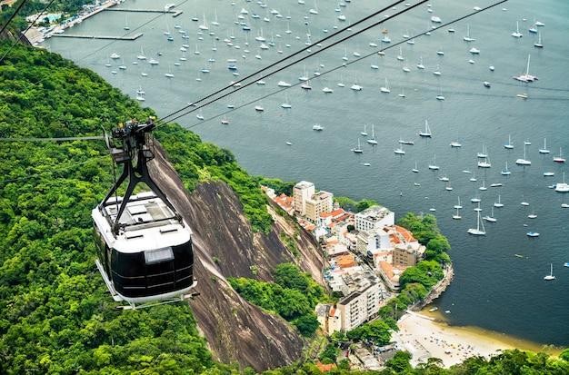 Gondola per il pan di zucchero a rio de janeiro, brasile