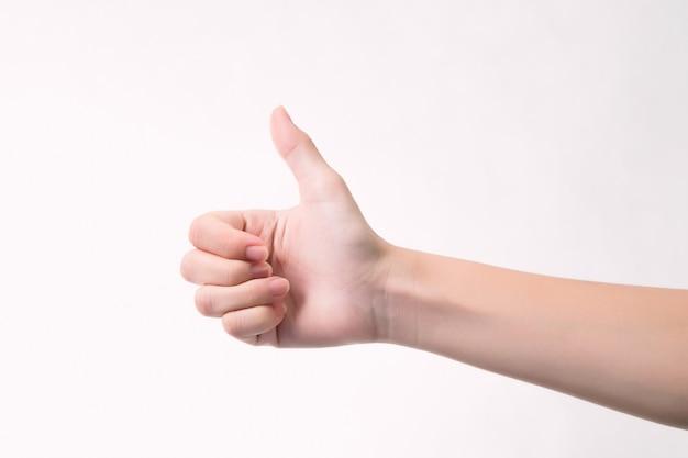 Buona mano, buon lavoro, mostra un colpo per il segno dell'accordo con il concetto di business di successo.