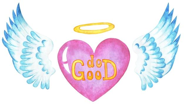 Fai del bene l'iscrizione sul cuore rosa con le ali e un'illustrazione di aureola è isolata su un bianco