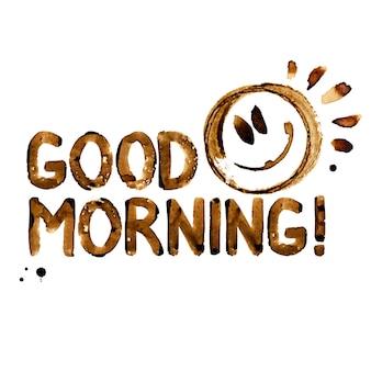 Buon giorno! - iscrizione in vero caffè e faccina sorridente