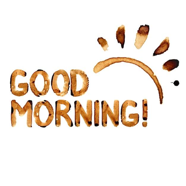 Buon giorno! - scritte in vero caffè e macchie di caffè