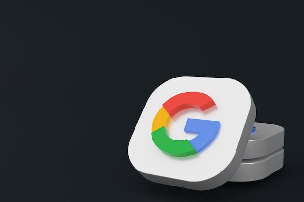 Rendering 3d del logo dell'applicazione google su sfondo nero