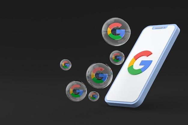 Icona di google sullo schermo dello smartphone o del telefono cellulare 3d render
