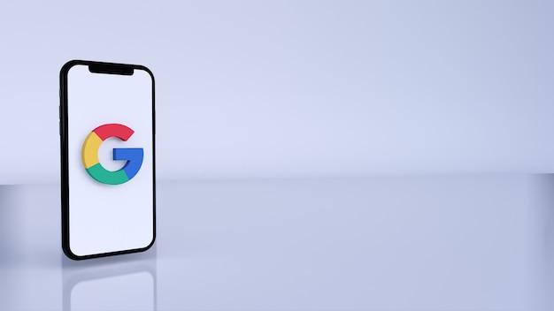 Icona del pulsante logo google 3d con spazio di copia. rendering 3d