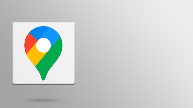 Logo di google maps su una piattaforma realistica