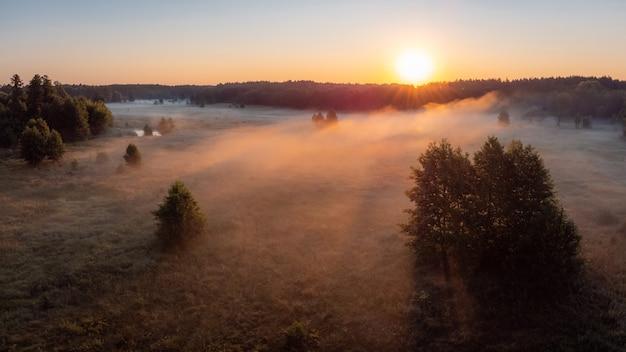 Stupendo scatto di nebbia in campagna illuminata dai primi raggi del sole nascente
