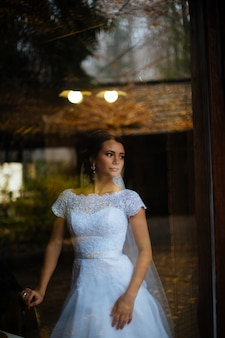 Sposa bionda sorridente splendida davanti ad una finestra dell'attico in un hotel moderno che alza sopra il suo velo