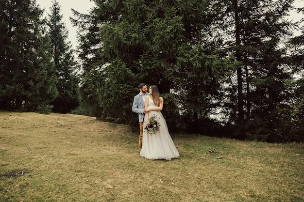 Splendide coppie di nozze che abbracciano in montagna