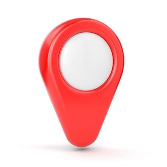 Puntatore della mappa gps. simbolo di posizione rosso isolato su sfondo bianco.