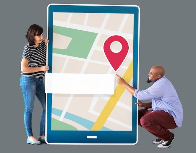Mappa di navigazione gps sul dispositivo digitale