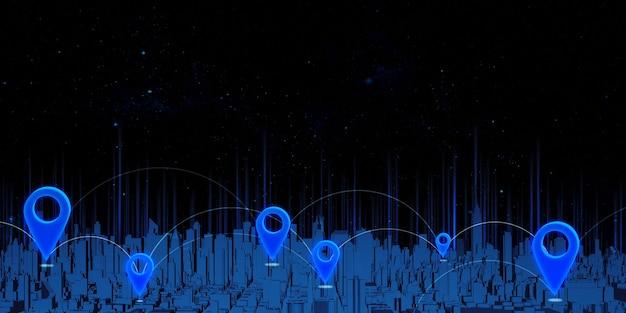 Perni gps e coordinate di trasmissione satellitare su una mappa di navigazione illustrata in 3d