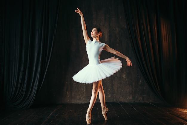 Graziosa ballerina che balla in classe di balletto