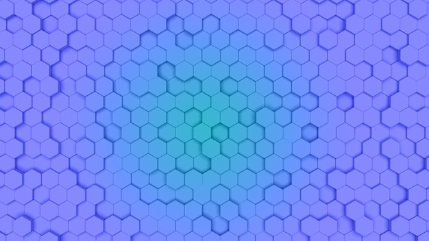 Cella esagonale blu e ciano di gradien, struttura a pettine. luce di sfondo