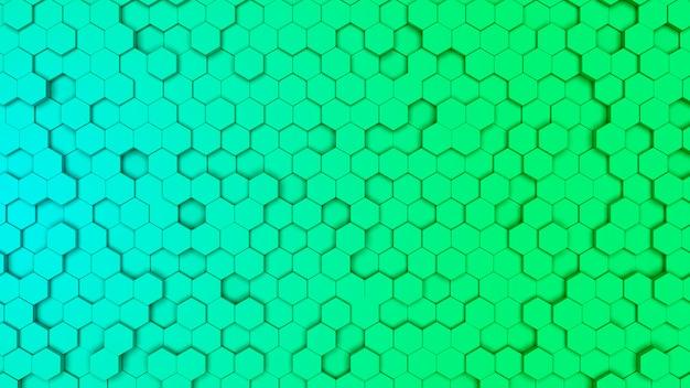 Cellula esagonale verde e ciano gradien, struttura a pettine. sfondo