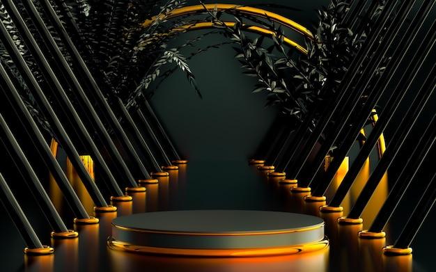 Cerchio ad anello astratto sfumato con foglie palcoscenico di lusso sul podio per il rendering 3d dello sfondo del prodotto