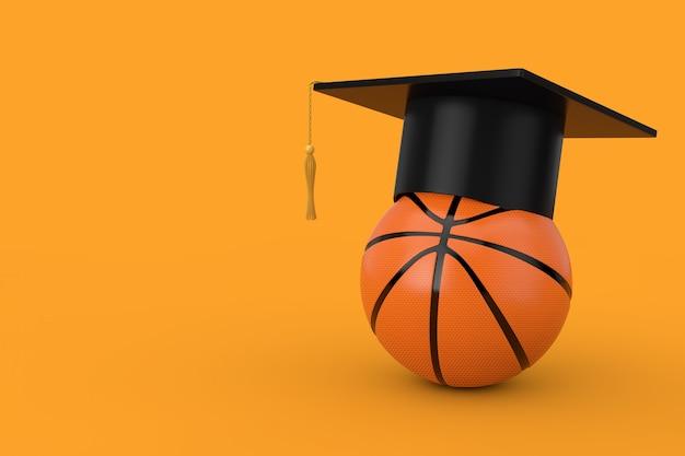 Berretto accademico di laurea su palla da basket arancione su sfondo giallo. rendering 3d