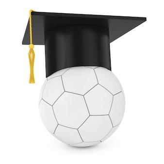 Cap accademico di graduazione sopra il pallone da calcio di calcio di cuoio bianco su un fondo bianco. rendering 3d