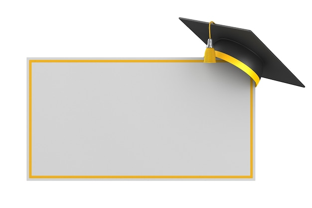 Tappo di laurea e banner isolato