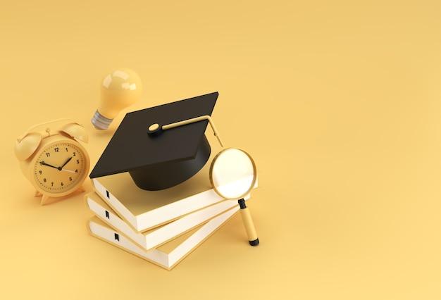 Tappo di laurea, lente d'ingrandimento lampadina con libri forme 3d realistiche. concetto di formazione online.