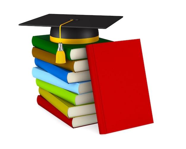 Berretto di laurea e pila di libri su bianco