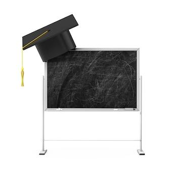 Cappello di laurea sulla lavagna di gesso vuoto con spazio libero per il tuo design su sfondo bianco. rendering 3d