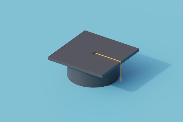 Cappello di laurea singolo oggetto isolato. rendering 3d