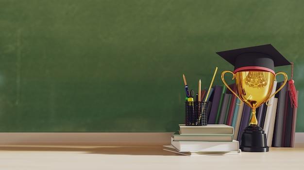 Cappello di laurea con trofeo d'oro su tavola di legno. rendering 3d