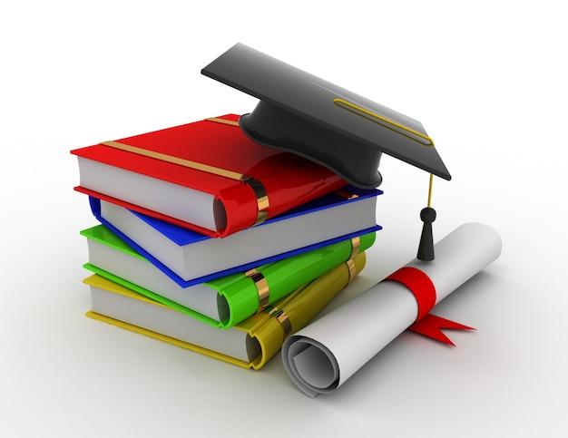 La laurea. sparviere, diploma e libri. 3d reso illustrazione