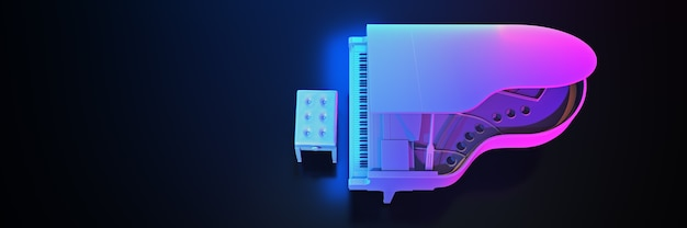 Pianoforte a coda nel rendering 3d di sfondo scuro