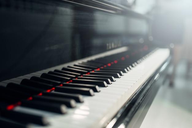 Primo piano di tasti del pianoforte a coda