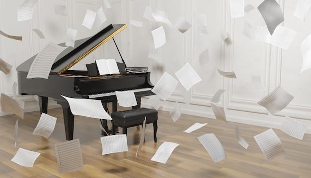Pianoforte a coda in camera con pavimento in legno e tanti spartiti che cadono nell'aria. rendering 3d