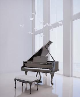 Pianoforte a coda in camera bianca
