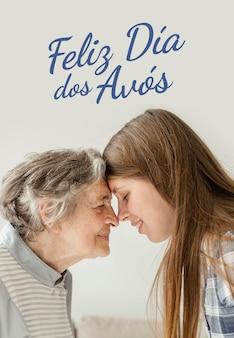 Nonna e nipote che celebrano il giorno dei nonni Foto Premium