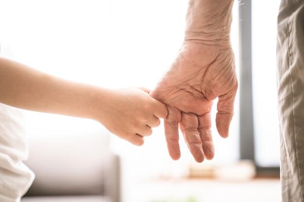 Nonni e nipote che giocano in casa - grondson che tiene la mano di suo nonno
