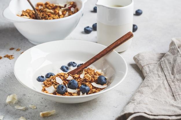 Muesli con yogurt, cocco e frutti di bosco in un piatto bianco. concetto di stile di vita sano.