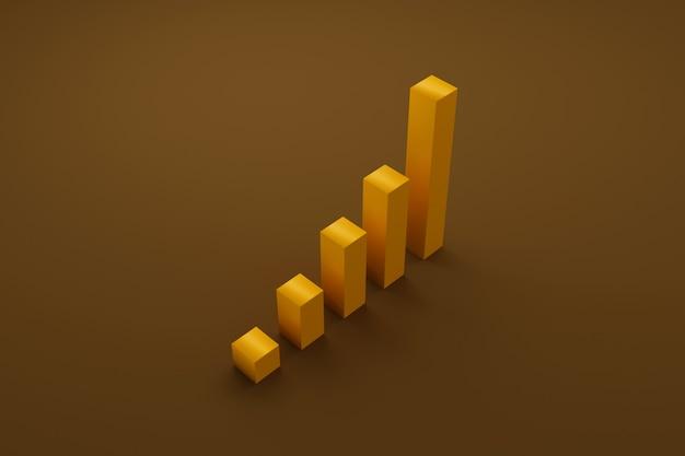 Crescita della barra del grafico che sale la scala dei gradini. sviluppo del business verso il successo e un concetto di crescita crescente. illustrazione 3d