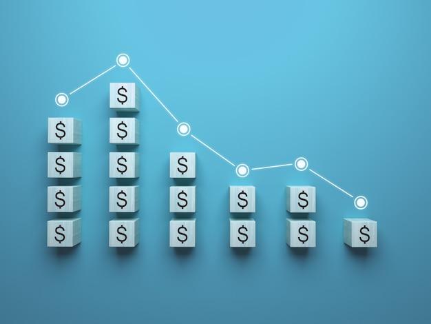 Grafico del declino dell'economia da cubi di legno diminuzione degli indicatori nelle illustrazioni 3d