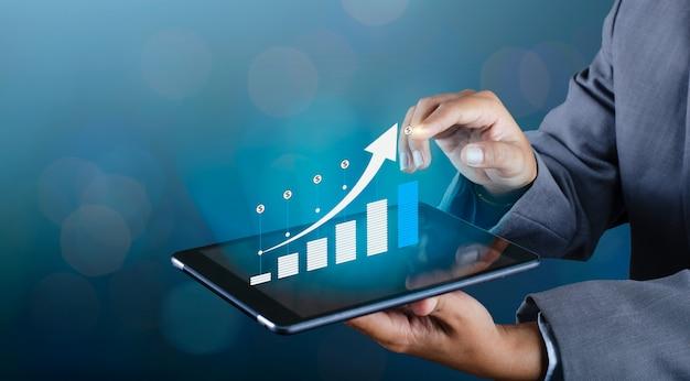 Grafico delle comunicazioni globali di crescita finanziaria smart phone binari e mondo
