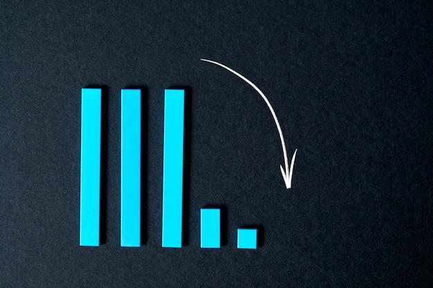 Il grafico scende su un muro nero. concetto di recessione e crisi sul muro nero.