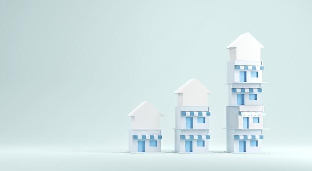 Grafico crescita di piccole case su sfondo azzurro