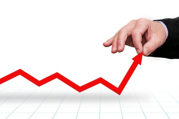 Grafico che mostra il movimento verso l'alto, la crescita. la mano tira il grafico sulla freccia. buon investimento.