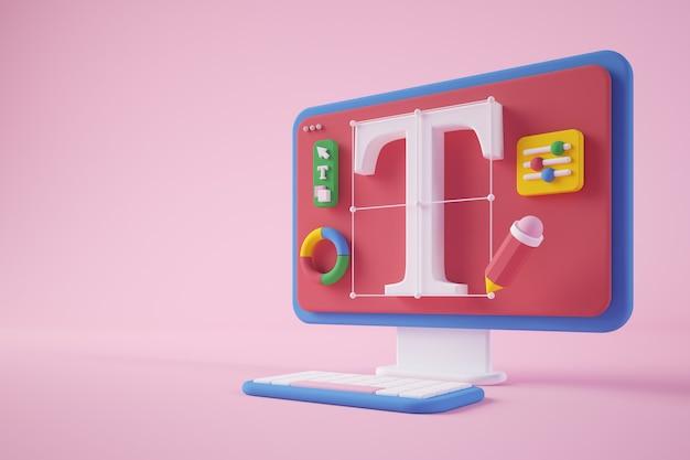 Rendering 3d di concetto di computer di progettazione grafica