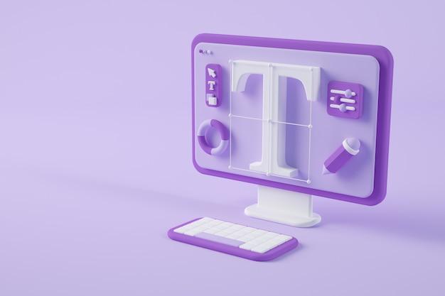 Rendering 3d di concetto di design grafico