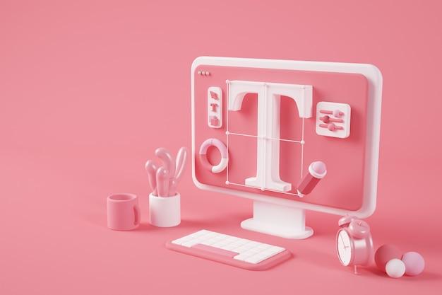 Rendering 3d desktop surreale di progettazione grafica