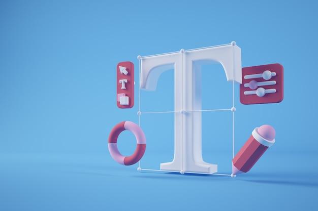 Rendering 3d di concetto di strumenti di progettazione grafica