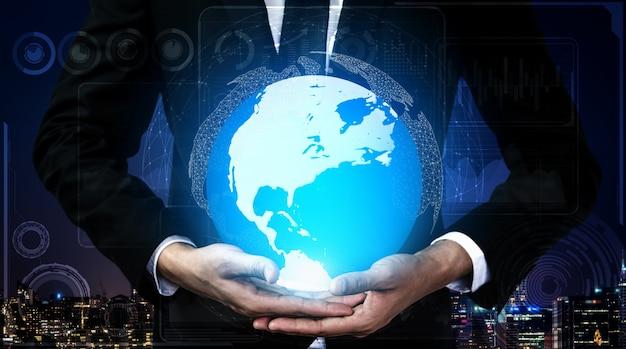 Interfaccia grafica che mostra la futura tecnologia informatica di analisi dei profitti, ricerche di marketing online e report informativi per la strategia aziendale digitale.