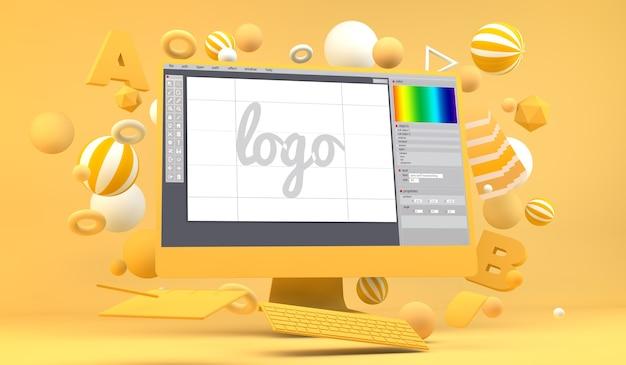 Logo grafico web design rendering 3d del computer